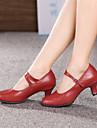 Chaussures de danse (Noir/Rouge/Argent/Or) - Non personnalisable - Talon Large - Cuir - Moderne