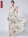 """yalun ™ sifon de epocă subțire v-gât rochie maxi imprimare noi femeile de moda """""""