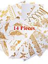 Tatueringsklistermärken - Mönster - Smyckeserier - till Dam/Herr/Vuxen/Tonåring - Guld - Papper - 14 - styck 21*11CM - Jewelry