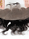 13 x 4 inch Noir Dentelle frontale Ondulation naturelle Cheveux humains Fermeture Marron clair Dentelle Suisse 30g - 80g gramme Cap Taille