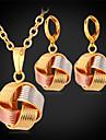 topgold nya söta multi färg 3 tone droppe charm halsband örhängen som 18k guldpläterade smycken för kvinnor av hög kvalitet