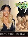"""3st 14-28 """"ombre brasilianska jungfru hårförlängningar kropps våg två tonar 1b / 27 blond 6a remy människahår väva vågiga buntar"""