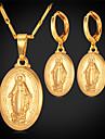topgold nouvelles boucles d'oreilles pendantes de vierge marie mis plaqué or 18 carats bijoux en platine de croix colar pour les femmes de