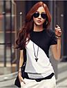 Lång ärm KVINNOR T-Shirts ( Bomull )med Rund i Casual stil