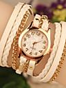 Peril kvinnors läder band analog kvarts avslappnad armband klocka (blandade färger)