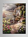 Peint à la main Paysage / A fleurs/BotaniqueMéditerranéen Un Panneau Toile Peinture à l'huile Hang-peint For Décoration d'intérieur