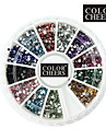 2000st 12-Color 1.5mm Cirkulär Diamond Nail Art Dekorationer