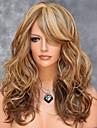 Europeiska och amerikanska hög temperatur tråd färgblandning syntetiskt hår och långt hår peruk