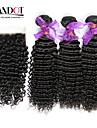 3 buntar peruanska lockigt jungfru hår med stängning obearbetat människohår väva och gratis / mellersta delen spetstopp stängning