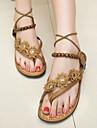 Chaussures Femme - Décontracté - Marron / Blanc - Talon Plat - Confort / Bride Orteil / Bride de Cheville - Sandales - Similicuir