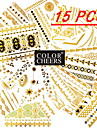 Tatueringsklistermärken - Mönster - Smyckeserier - till Dam/Girl/Vuxen/Tonåring - Guld - Papper - #(15) - styck #(15x11.5)
