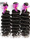 """3 st lot 12 """"-30"""" obearbetade råvaror peruanska djup våg lockiga jungfru hårwefts naturligt svart remy människohår väva buntar"""