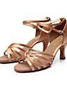 Chaussures de danse(Noir Marron Argent Or Léopard Autre) -Personnalisables-Talon Personnalisé-Satin-Latine Salsa Salon