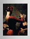 Peint à la main PersonnageModern / Style européen Un Panneau Toile Peinture à l'huile Hang-peint For Décoration d'intérieur