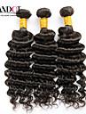 """3pcs lot 12 """"-30"""" noirs remy premières cheveux humains faisceaux de tissage non transformés vague profonde bouclés trames de cheveux"""