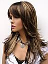 naturlig lång alice vände brun med gyllene höjdpunkter peruk för kvinna