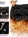 """4st mycket 14-28 """"ombre kambodjanska 2 två ton svart blond 1b / 27 # virgin remy mänskliga hårförlängningar / väva buntar vågigt"""