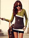 mozaic maro / verde T-shirt, gât ocazional cu maneca lunga pentru femei