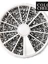 3600PCS 2mm Silver Cirkulär Nail Art Akryl Rhinestone