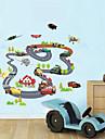 väggdekorationer Väggdekaler, barn auto bana pvc vägg klistermärken