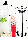 underbara katter som leker med fjärilen runt lyktstolpe vägg dekal zooyoo030l avtagbar pvc vägg klistermärke