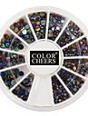 500st 2MM & 3MM 3D färgglada runda Rivet Nail Art Dekorationer