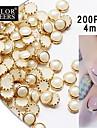 200pcs beige pärla metall kant av nail art dekorationer 4mm