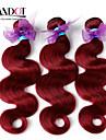 """3st mycket 12 """"-28"""" peruanska jungfru hår vågigt vågig vinröd vinröd 99j 6a remy människohår väva buntar härva gratis"""