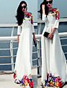 Robes ( Polyester ) Imprimé Rond à Manche 3/4 pour Femme