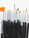15pcs manche noir brosse nail art peinture à la conception du stylo de dessin jeu&5pcs 2-way parsemant Marbleizing outil plume