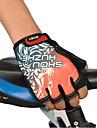 자전거 장갑은 빨간색, 회색, 파란색, 검은 손가락없이
