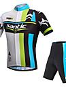 SANTIC® Cykeltröja med shorts Herr Kort ärm Cykel Andningsfunktion / Ultraviolet Resistant / ReflexremsaCykeltröja + shorts / Vadderade