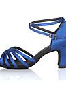 Chaussures de danse(Bleu) -Personnalisables-Talon Personnalisé-Satin-Latine Salsa