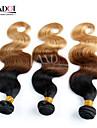 3 st hel 14-28 ombre indisk jungfru hårförlängningar vågigt tre ton svart brun blond 1b / 4/27 # människohår väva
