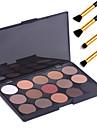 15 färger professionella varm smink naken ögonskugga matt palett skimmer kosmetisk + 4st penna makeup borste