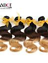 """4 st mycket 14 """"-28"""" ombre malaysiska jungfru mänskliga hårförlängningar / väver vågigt 3 tre ton svart brun blond 1b / 4/27 #"""