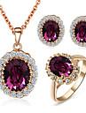 Set bijuterii Cristal Cristal Zirconiu Cubic imitație de diamant Aliaj Mov Nuntă Petrecere Zilnic Casual 1set Coliere Σκουλαρίκια Inele