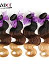 """4 st mycket 14 """"-28"""" ombre peruanska jungfru mänskliga hårförlängningar / väver vågigt 3 tre ton svart brun blond 1b / 4/27 #"""