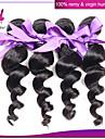 3st indisk lös våg hårwefts 100% ursprungliga mänskliga hårförlängningar # 1b färg obearbetade lös våg