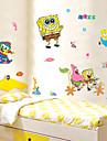 väggdekorationer väggdekaler, tecknad SvampBob Fyrkant stranden barn rum pvc vägg klistermärken