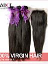 6a non transformés cheveux péruvien vierge droite avec fermeture 3 faisceaux avec fermeture 4 * 4 de dentelle tissage de cheveux humains