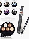 1pcs stylo eyeliner liquide imperméable à l'eau ;1pcs lumineux stéréo 5 poudre de couleur d'ombre ubub rôti oeil métallique miroitement