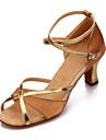 Chaussures de danse(Noir Bleu Marron Rouge Léopard) -Non Personnalisables-Talon Cubain-Satin Similicuir-Latine Salon