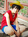 Inspireret af One Piece Monkey D. Luffy Anime Cosplay Kostumer Cosplay Suits Patchwork Rød / Blå Ærmeløs Vest / Shorts