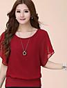 T-Shirts ( Mousseline ) Informel/Travail Rond à Manches courtes pour Femme