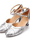 Chaussures de danse(Noir Bleu Rose Rouge Argent Or) -Non Personnalisables-Talon Cubain-Similicuir Paillette-Moderne
