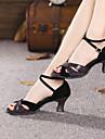 Chaussures de danse (Noir/Bleu) - Non personnalisable - Talon Large - Suédé - Danse latine