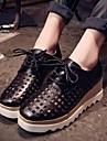 Pantofi pentru femei - Imitație de Piele - Toc Pană - Confortabili / Vârf Pătrat / Vârf Inchis - Oxford - Outdoor / Casual -Negru /