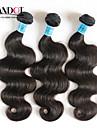 """3 st mycket 12 """"-28"""" indian kropps våg virgin remy mänskliga hårförlängningar / väva buntar naturligt svart färg 1b # trasselfri"""