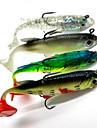 4 pcs Leurre souple leurres de pêche Leurre souple Shad Appâts souples Noir Vert Jaune Couleurs Aléatoires Transparente 14 g/1/2 Once,80